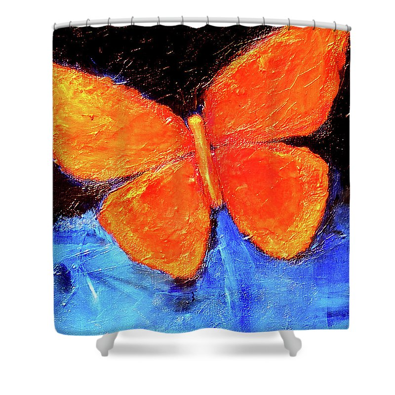 Butterfly Shower Curtain featuring the painting Orange Butterfly by Noga Ami-rav