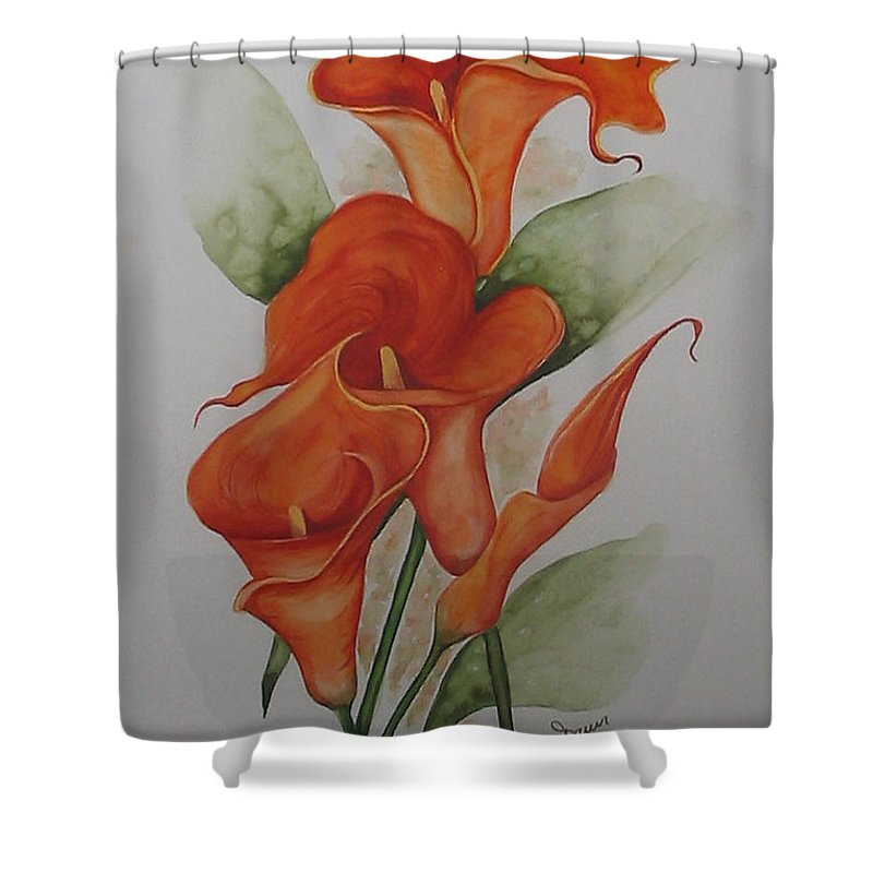 Floral Orange Lily Shower Curtain featuring the painting Orange Callas by Karin Dawn Kelshall- Best