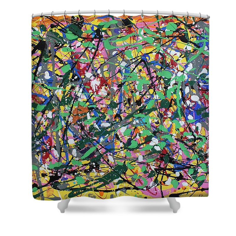 Colorful Shower Curtain featuring the painting Orange Delight by Pam Roth O'Mara