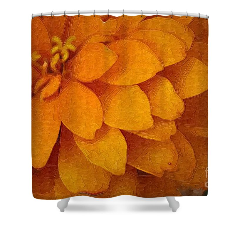 Flowers Shower Curtain featuring the photograph Orange Glow by Donna Bentley