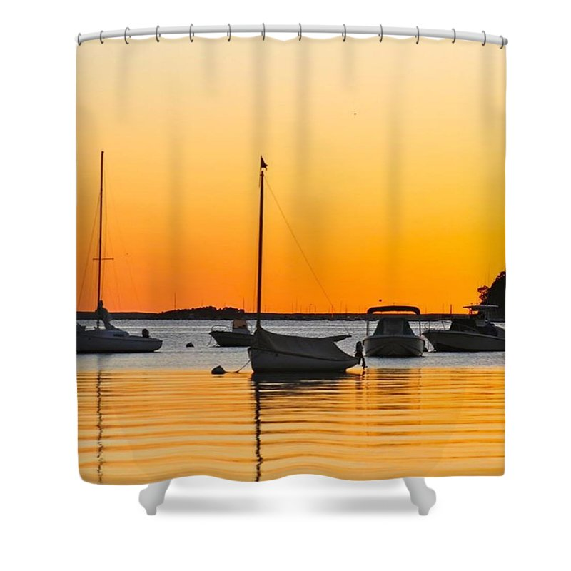 Boat Shower Curtain featuring the photograph Orange Glow by Justin Connor