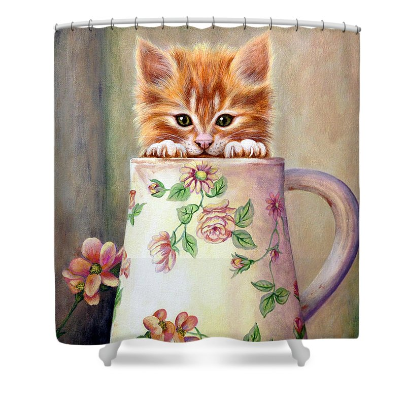 Kitten Shower Curtain Featuring The Painting Orange By Glenda Stevens