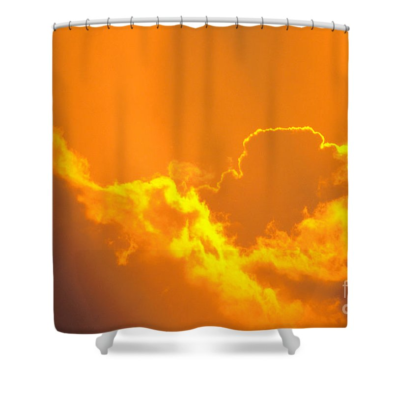 Air Art Shower Curtain featuring the photograph Orange Misty Sky by Mary Van de Ven - Printscapes