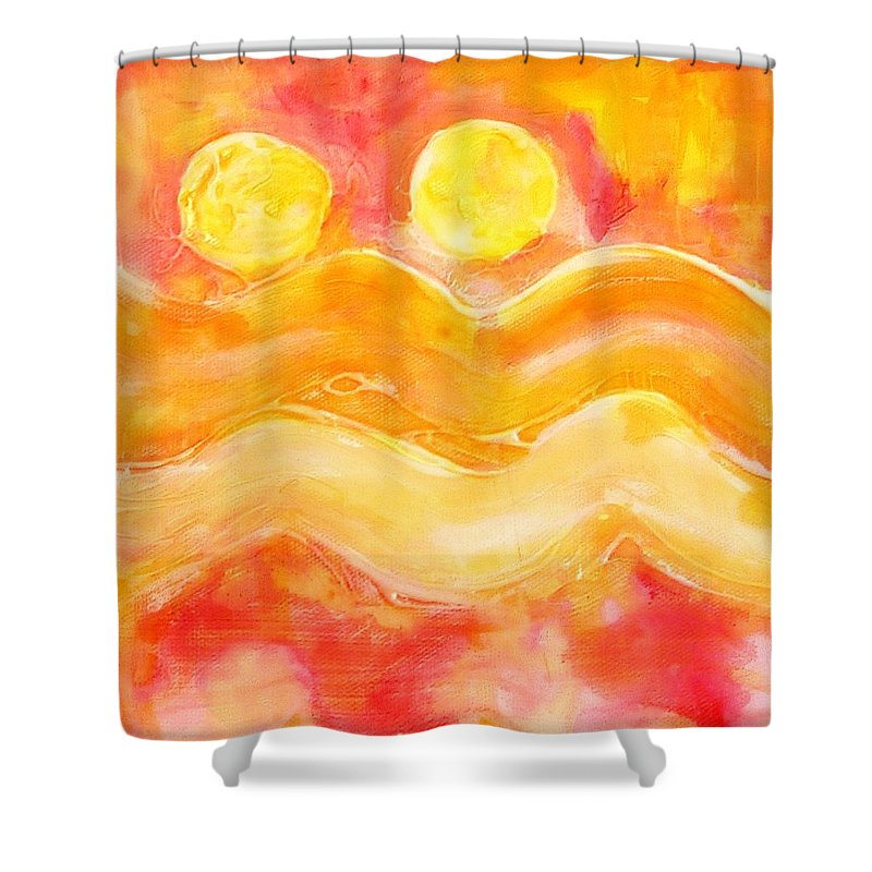 Landscape Shower Curtain featuring the painting Orange Moons by Kathy Augustine