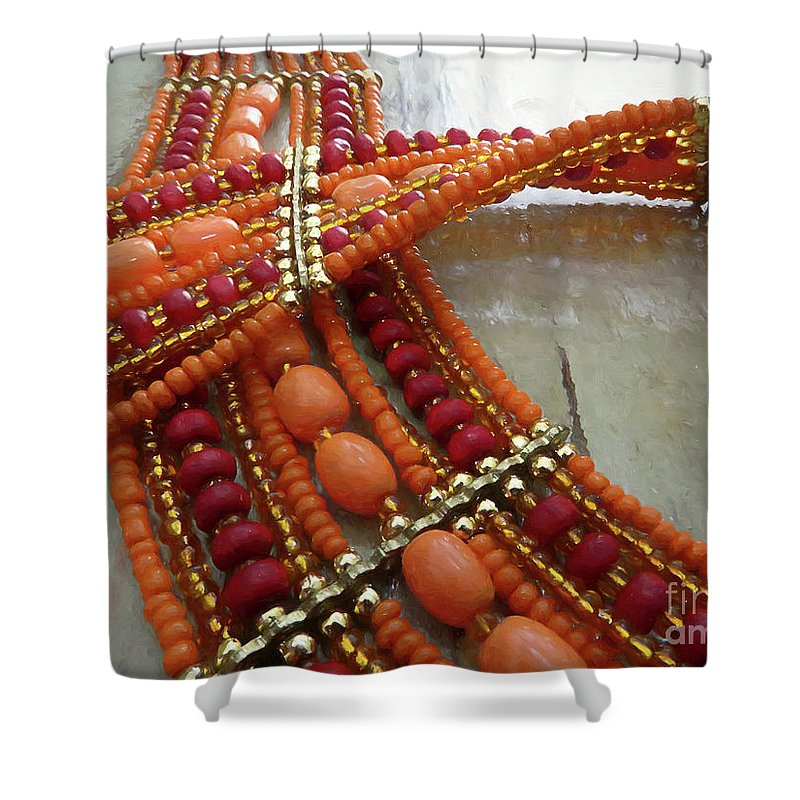Necklace Shower Curtain featuring the digital art Orange Necklace by Elisabeth Lucas