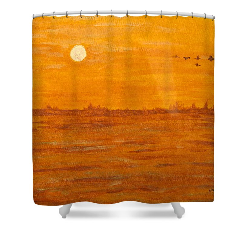 Orange Shower Curtain featuring the painting Orange Ocean by Ian MacDonald