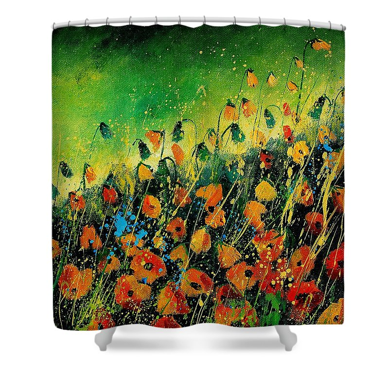 Poppies Shower Curtain featuring the painting Orange Poppies 459080 by Pol Ledent