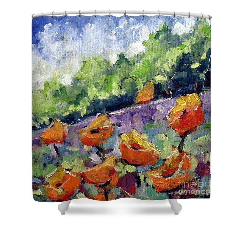 Art Shower Curtain featuring the painting Orange Poppies by Richard T Pranke