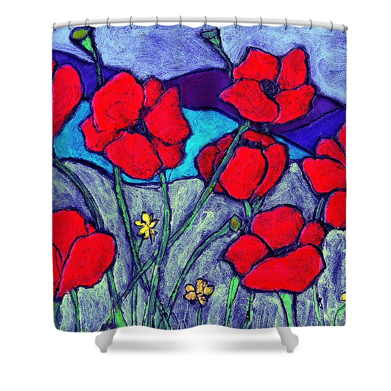 Flowers Shower Curtain featuring the painting Orange Red Poppies by Wayne Potrafka
