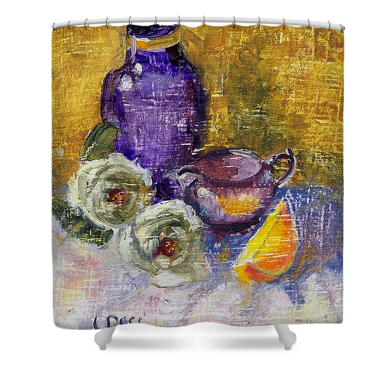 Vase Shower Curtain featuring the painting Orange Reflection by Laurie Paci