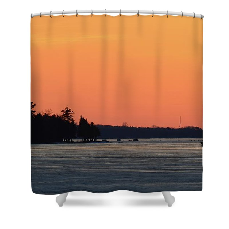 Abstract Shower Curtain featuring the digital art Orange Sky Above The Trees by Lyle Crump