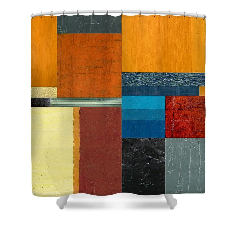 Multicolored Shower Curtain featuring the painting Orange Study With Compliments 3.0 by Michelle Calkins