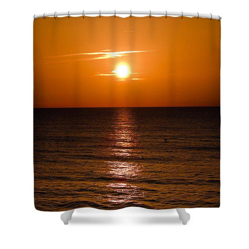 Sun; Rise; Sunrise; Orange; Florida; Morning; Solar; Ocean; Sea; Shore. Coast; Beach; Calm; Waves; S Shower Curtain featuring the photograph Orange Sunrise Over A Florida Beach by Allan Hughes