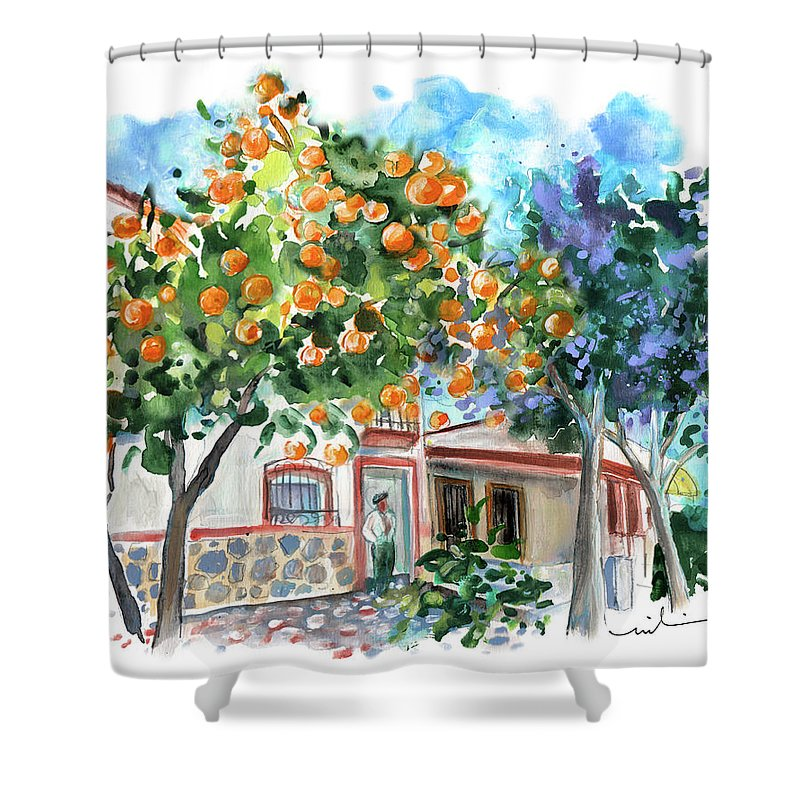 Orange Tree And Jacaranda In Turre In Andalucia Shower Curtain For