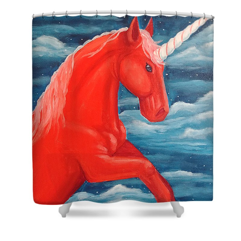 Fantasy Shower Curtain featuring the painting Orange Unicorn by Heather James