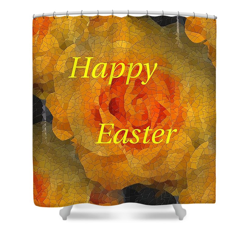 Easter Shower Curtain featuring the digital art Orange You Lovely Easter by Tim Allen