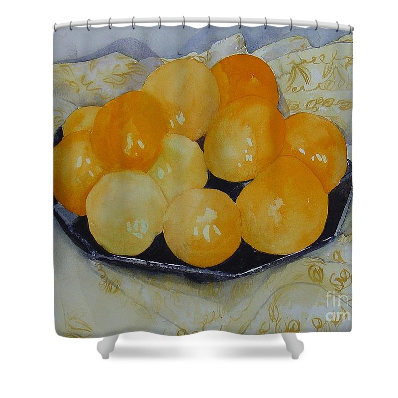 Still Life Watercolor Original Leilaatkinson Oranges Shower Curtain featuring the painting Oranges by Leila Atkinson
