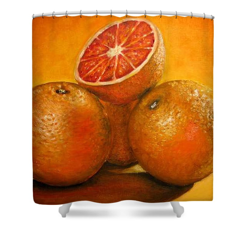 Oranges Shower Curtain featuring the painting Oranges Original Oil Painting by Natalja Picugina
