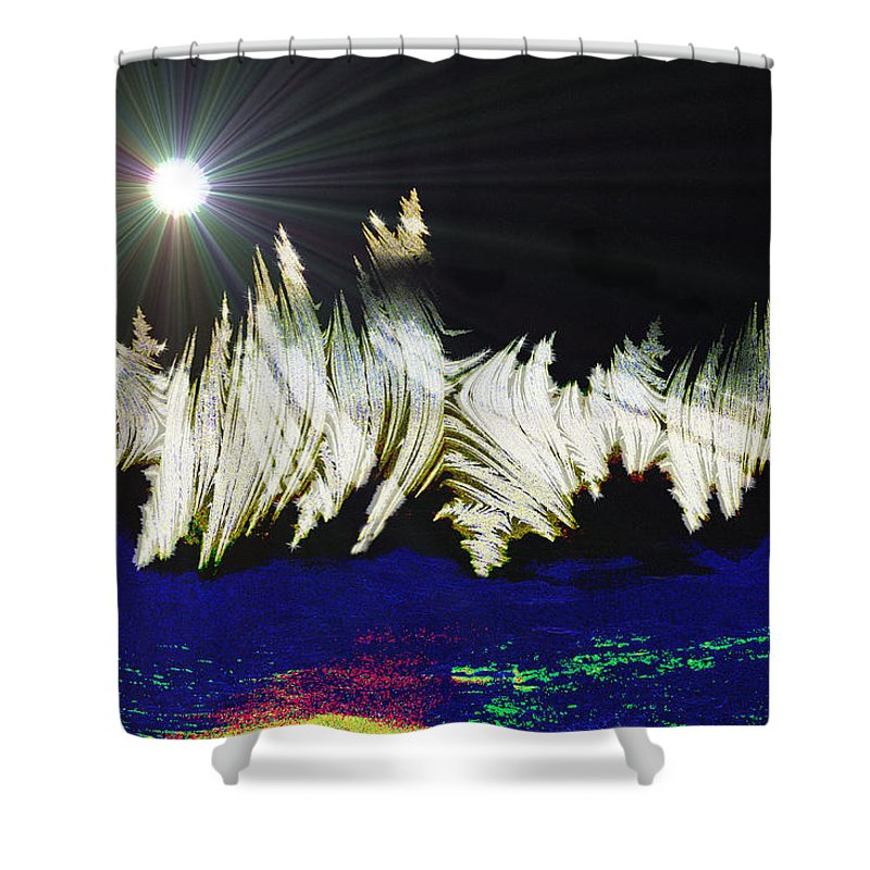 Stars Moon Planet Outter Space Alien Solar System Abstract Another Dimension Shower Curtain featuring the digital art Orbit Time by Andrea Lawrence