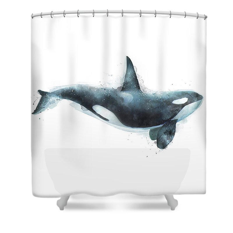 Orca Shower Curtain featuring the painting Orca by Amy Hamilton