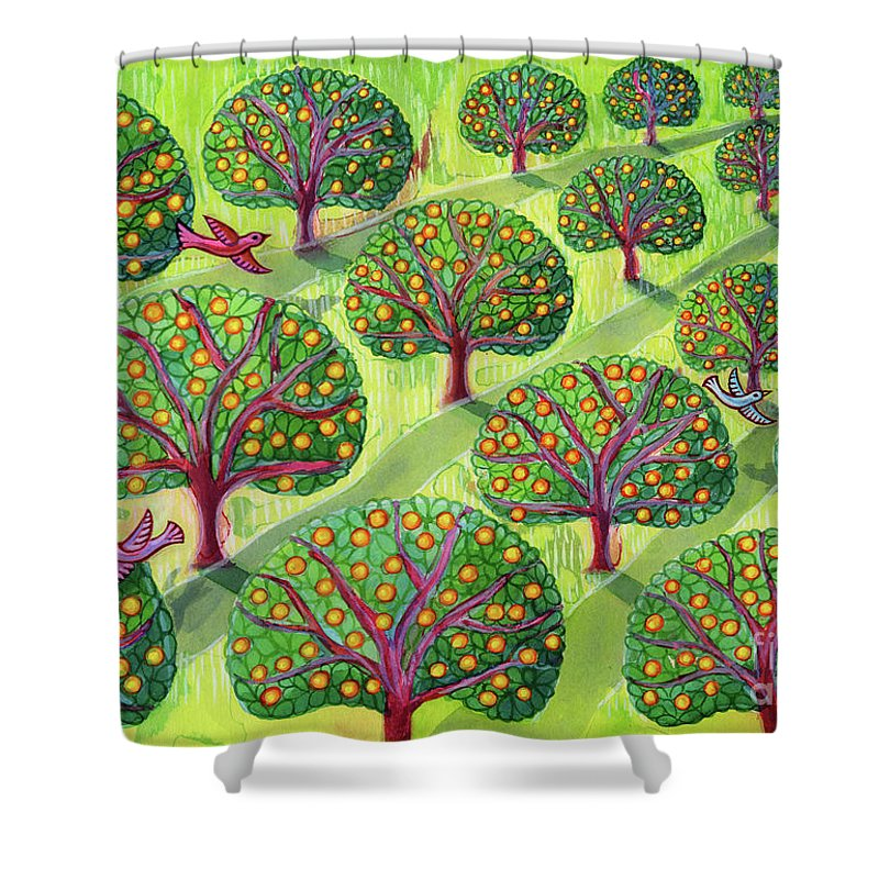 Orchard Shower Curtain featuring the painting Orchard by Jane Tattersfield