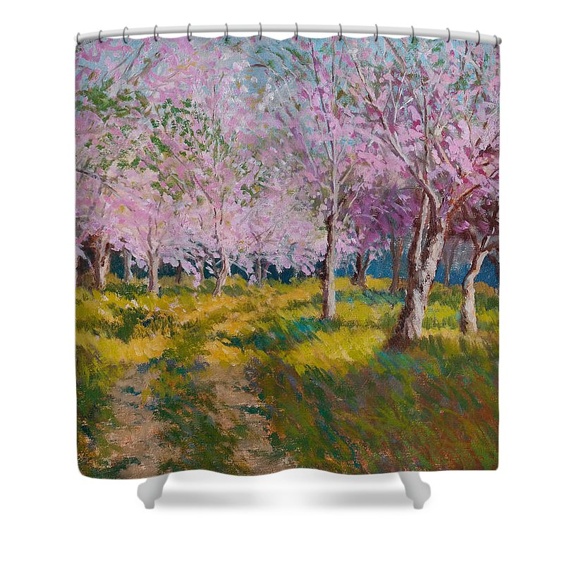 Impressionism Shower Curtain featuring the painting Orchard Light by Keith Burgess