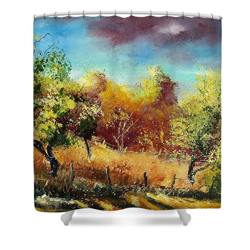 Flowers Shower Curtain featuring the painting Orchard by Pol Ledent