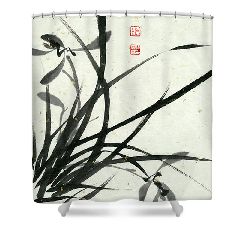 Orchid Shower Curtain featuring the painting Orchid - 29 by River Han