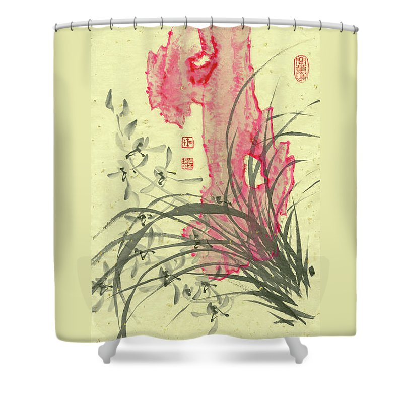 Orchid Shower Curtain featuring the painting Orchid - 30 by River Han