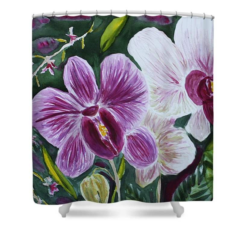 Orchid Shower Curtain featuring the painting Orchid At Aos 2010 by Donna Walsh