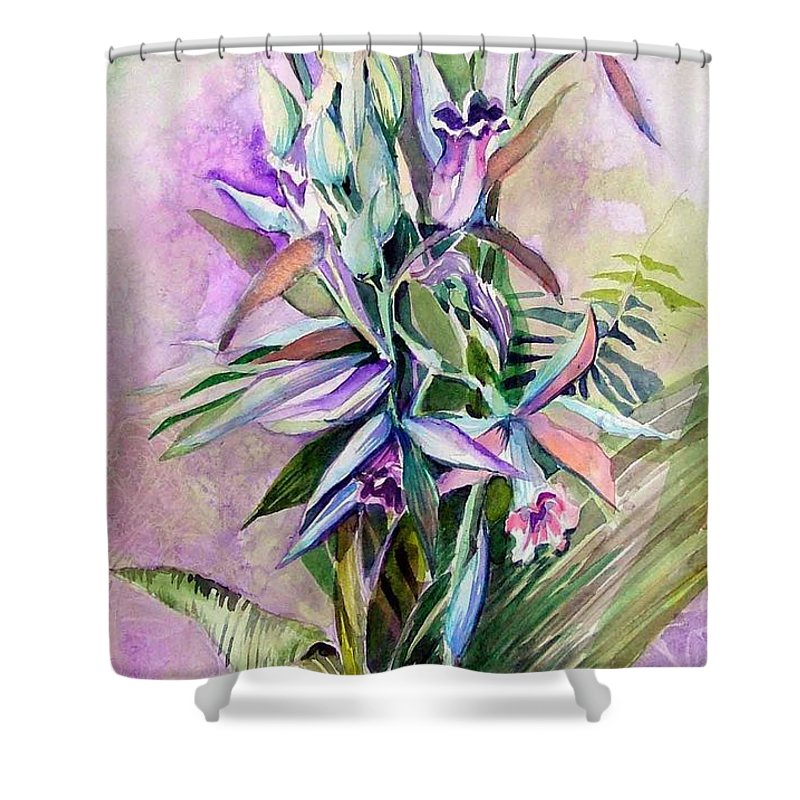 Orchids Shower Curtain featuring the painting Orchids- Botanicals by Mindy Newman