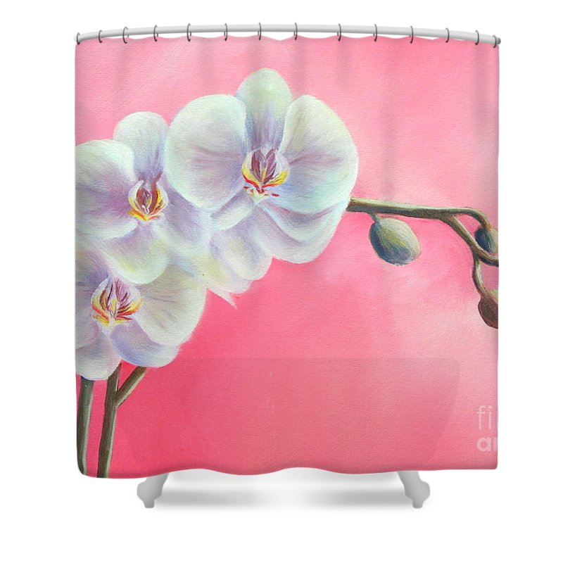Orchids Paintings And Prints Shower Curtain featuring the painting Orchids by Gabriela Valencia