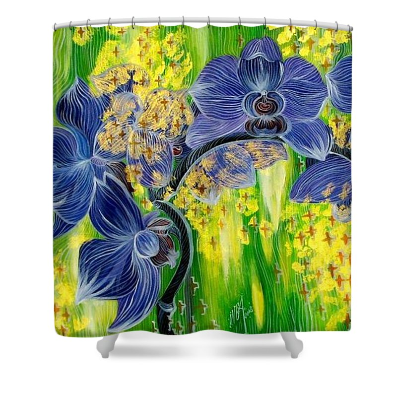 Inga Vereshchagina Shower Curtain featuring the painting Orchids In A Gold Rain by Inga Vereshchagina