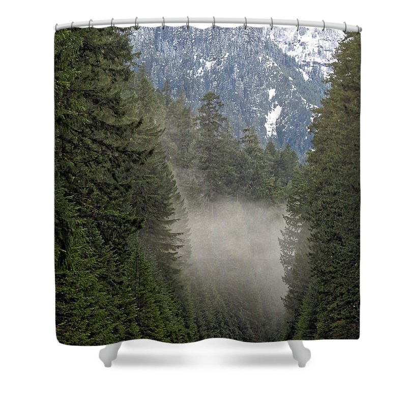 Road Shower Curtain featuring the photograph Oregon Highway Mist by Lindy Pollard