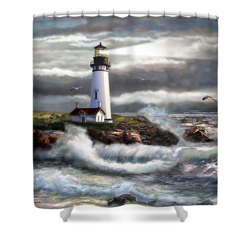 Seascape Art Shower Curtain featuring the painting Oregon Lighthouse Beam Of Hope by Regina Femrite