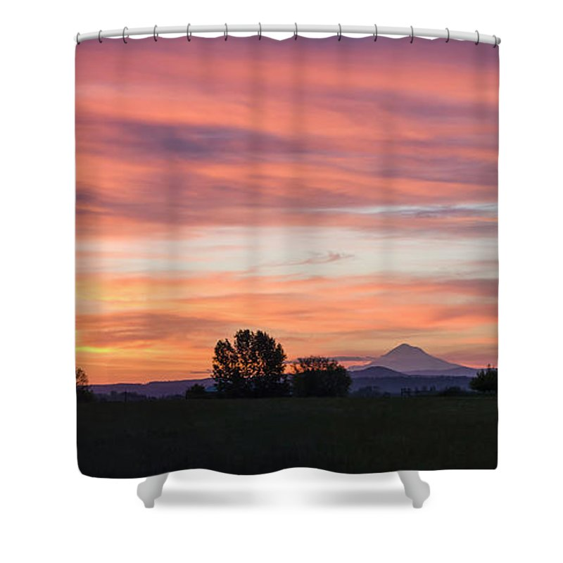 Mountains Shower Curtain featuring the photograph Oregon Sunrise by Steven Clark