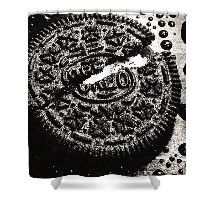 Cookie Shower Curtain featuring the photograph Oreo Cookie by Nancy Mueller