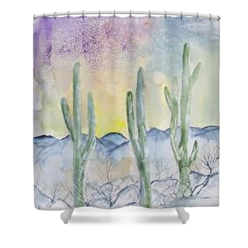 Impressionistic Shower Curtain featuring the painting Organ Pipe Cactus desert southwestern painting poster print by Derek Mccrea