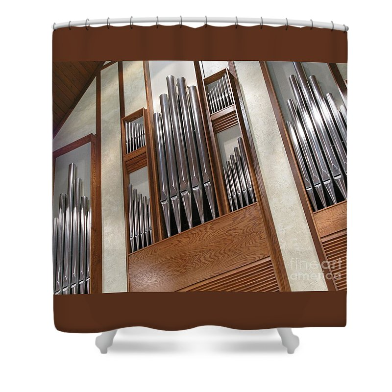 Music Shower Curtain featuring the photograph Organ Pipes by Ann Horn