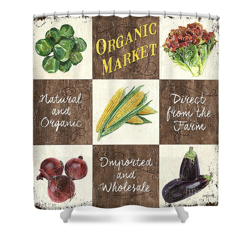 Organic Shower Curtain featuring the painting Organic Market Patch by Debbie DeWitt