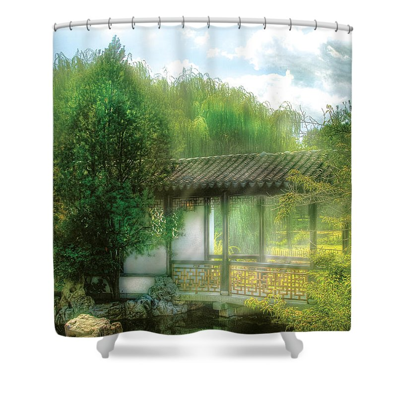 Savad Shower Curtain featuring the photograph Orient - Bridge - Chinese Bridge by Mike Savad