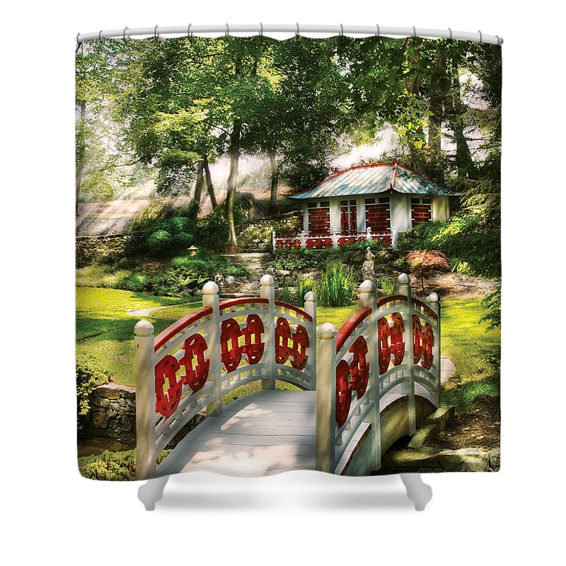 Savad Shower Curtain featuring the photograph Orient - Bridge - The Bridge To The Temple by Mike Savad