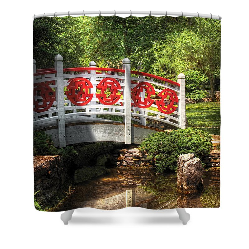 Savad Shower Curtain featuring the photograph Orient - Bridge - Tranquility by Mike Savad