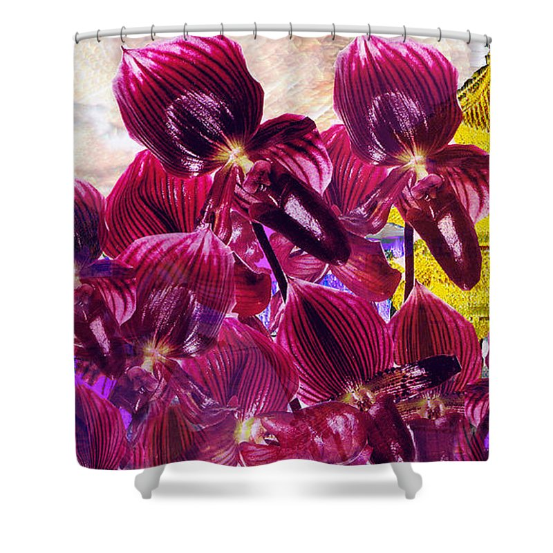 Far East Shower Curtain featuring the digital art Oriental Orchid Garden by Seth Weaver
