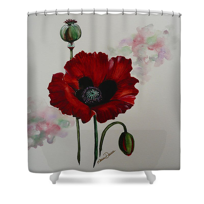 Floral Poppy Red Flower Shower Curtain featuring the painting Oriental Poppy by Karin Dawn Kelshall- Best
