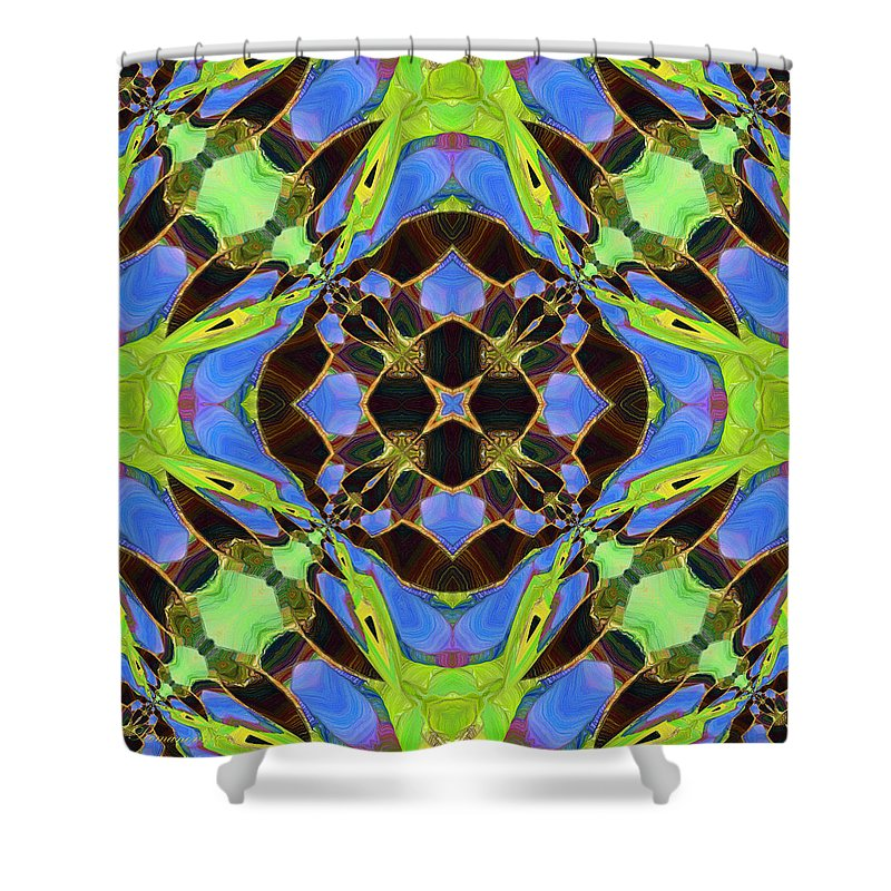 Abstract Shower Curtain featuring the mixed media Oriental Tantra by Georgiana Romanovna