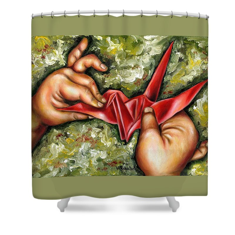 Japanese Shower Curtain featuring the painting Origami by Hiroko Sakai