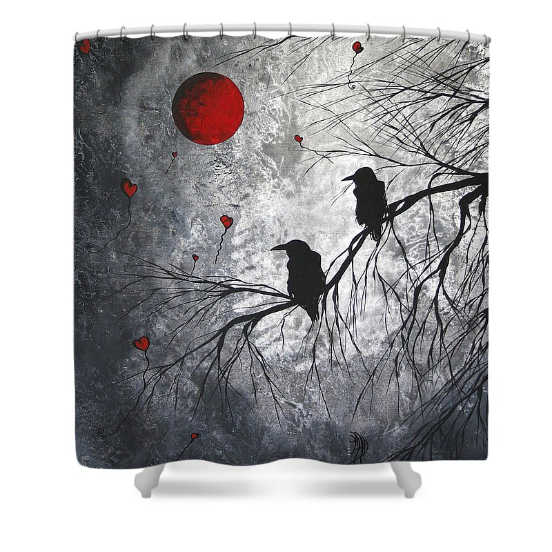 Birds Shower Curtain featuring the painting Original Abstract Surreal Raven Red Blood Moon Painting The Overseers By Madart by Megan Duncanson