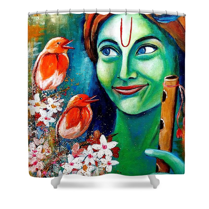 Original Contemporary Colorful Vibrant Krishna Listening To Birds Songs Painting For Home Decor Shower Curtain Featuring