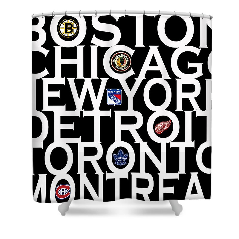 Hockey Shower Curtain featuring the photograph Original Six by Andrew Fare